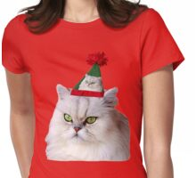Christmas Cat Womens Fitted T-Shirt