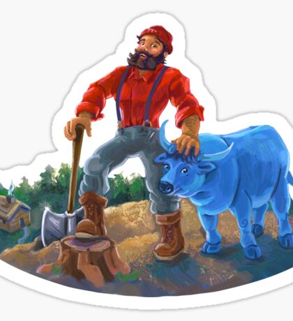 Paul Bunyan and Babe the Blue Ox Sticker