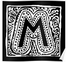 Initial M Black and White Poster