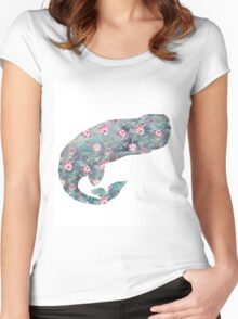 Floral whale Women's Fitted Scoop T-Shirt