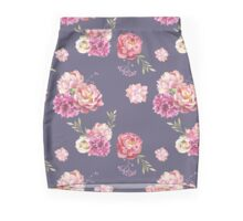 Watercolor peony flowers seamless pattern Mini Skirt
