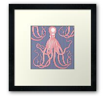 Jaunty Pink Antique Octopus on Thin navy and white Stripes Framed Print