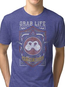 Grab Life By The Bells (Kettlebells) - Vintage Tri-blend T-Shirt