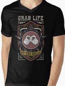Grab Life By The Bells (Kettlebells) - Vintage Mens V-Neck T-Shirt