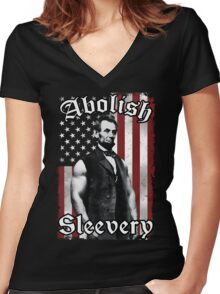 Abolish Sleevery (Vintage US Flag) Women's Fitted V-Neck T-Shirt