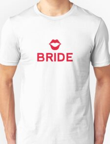 Bride word art with red lips Unisex T-Shirt