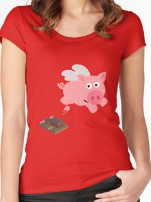 Pig out of slaughterhouse Women's Fitted Scoop T-Shirt