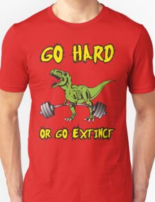 Go Hard or Go Extinct (Deadlift T-Rex) Green Yellow Unisex T-Shirt