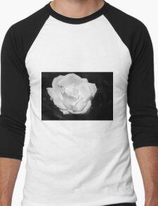 Heart Petal White Rose Men's Baseball ¾ T-Shirt