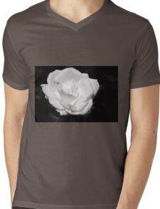 Heart Petal White Rose Mens V-Neck T-Shirt