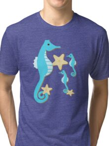 Blue Seahorses Graphic Art Tri-blend T-Shirt