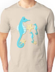 Blue Seahorses Graphic Art Unisex T-Shirt