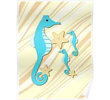 Blue Seahorses Graphic Art Poster