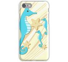 Blue Seahorses Graphic Art iPhone Case/Skin