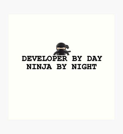 ninja developer programming computer Art Print