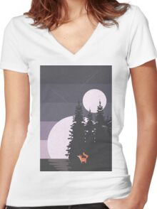 Two Moon Night Women's Fitted V-Neck T-Shirt