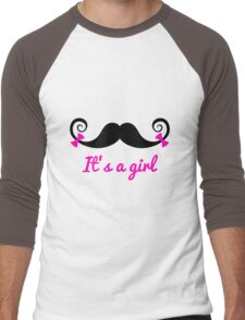 it' a girl, mustache with pink bows Men's Baseball ¾ T-Shirt