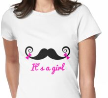 it' a girl, mustache with pink bows Womens Fitted T-Shirt