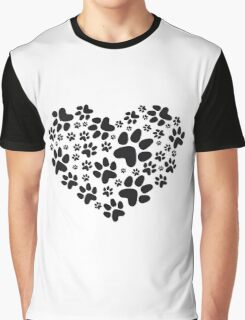 heart with black paw prints, animal footprint pattern Graphic T-Shirt