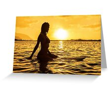Female Surfer Silhouette Greeting Card