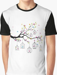 tree branch with birds and birdcages Graphic T-Shirt