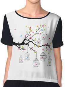 tree branch with birds and birdcages Chiffon Top