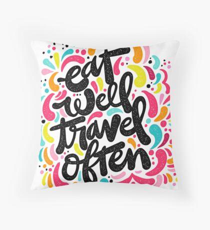 Eat & Travel Throw Pillow
