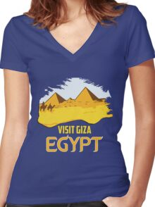 Retro vintage style visit Egypt pyramids travel ad  Women's Fitted V-Neck T-Shirt