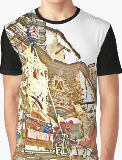 L'Aquila: collapsed building with firefighters and rubble Graphic T-Shirt
