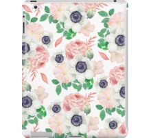 Coral pink white watercolor botanical roses floral iPad Case/Skin