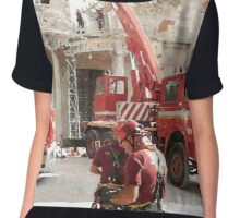 L'Aquila: collapsed building with firefighters at work Chiffon Top