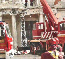 L'Aquila: collapsed building with firefighters at work Sticker