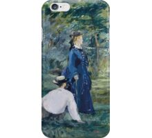 Edouard Manet - A Game of Croquet 1873 , French Impressionism  , Landscape iPhone Case/Skin