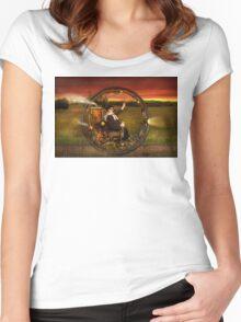 Steampunk - The gentleman's monowheel Women's Fitted Scoop T-Shirt