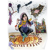 Knitting Witch Watercolor Painting Poster