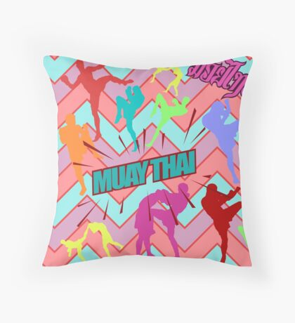 muay thai boxing pattern sign board thailand martial art Throw Pillow