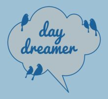 day dreamer text design in blue cloud with birds One Piece - Short Sleeve