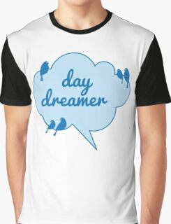 day dreamer text design in blue cloud with birds Graphic T-Shirt