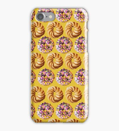 Sprinkle donuts and honey crullers on a yellow background iPhone Case/Skin