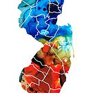 New Jersey - State Map By Sharon Cummings by Sharon Cummings