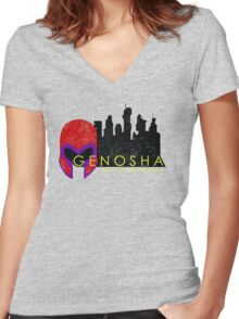Genosha (The Cities of Comics) Women's Fitted V-Neck T-Shirt