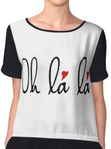 Oh la la, French word art with red hearts Chiffon Top