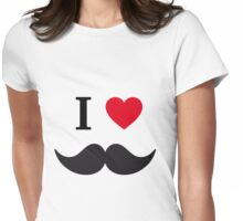 I love mustache with red heart Womens Fitted T-Shirt
