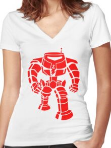 Manbot - Red Women's Fitted V-Neck T-Shirt