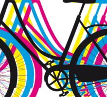 Colorful old bicycle silhouette Sticker