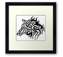 Trible Fire Wolf Framed Print