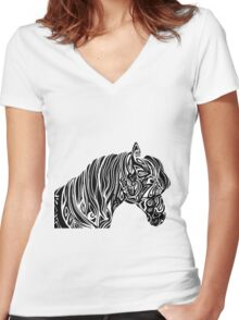 Kiger Mustang Tribal Illustration Women's Fitted V-Neck T-Shirt
