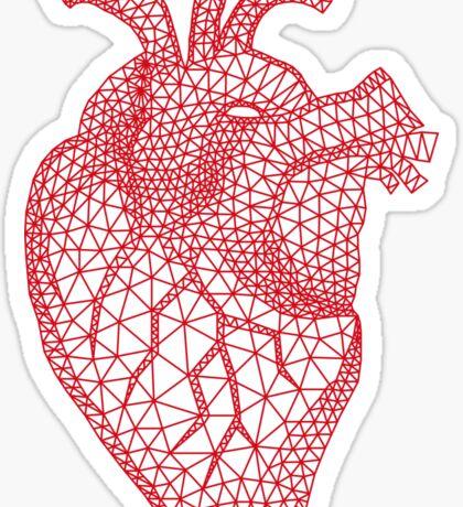 red human heart with geometric mesh pattern Sticker