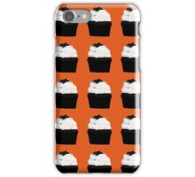 chocolate cupcakes with vanilla icing on an orange background iPhone Case/Skin
