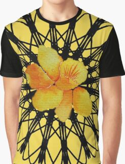 Watercolor yellow daffodil  on a digital spiral web Graphic T-Shirt